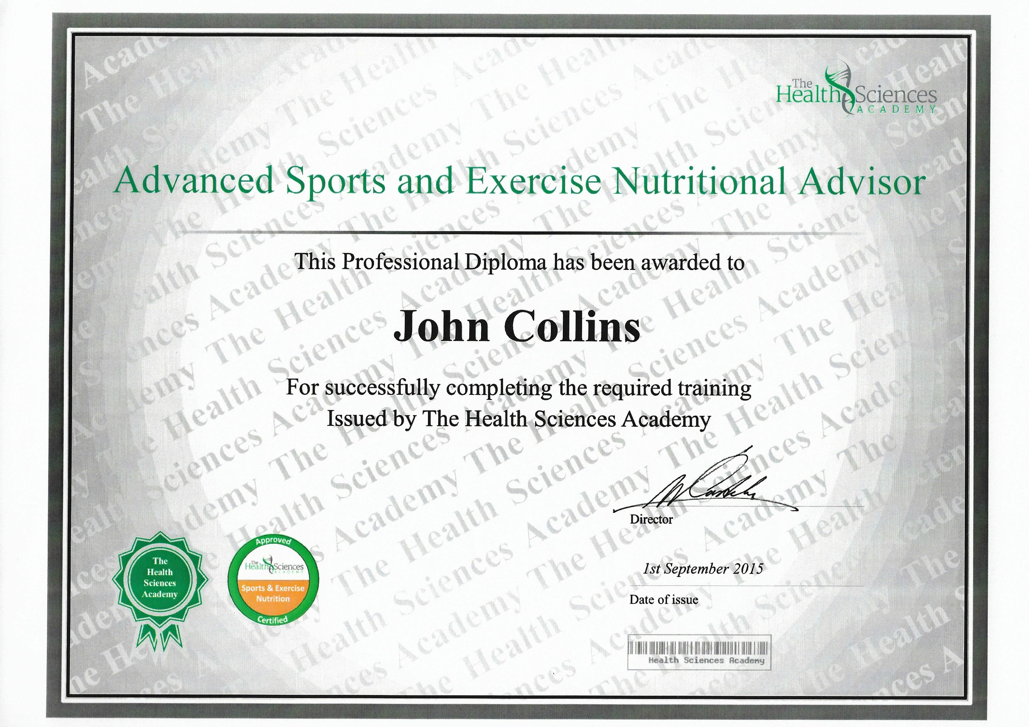 Sports and Exercise Nutritional Advisor