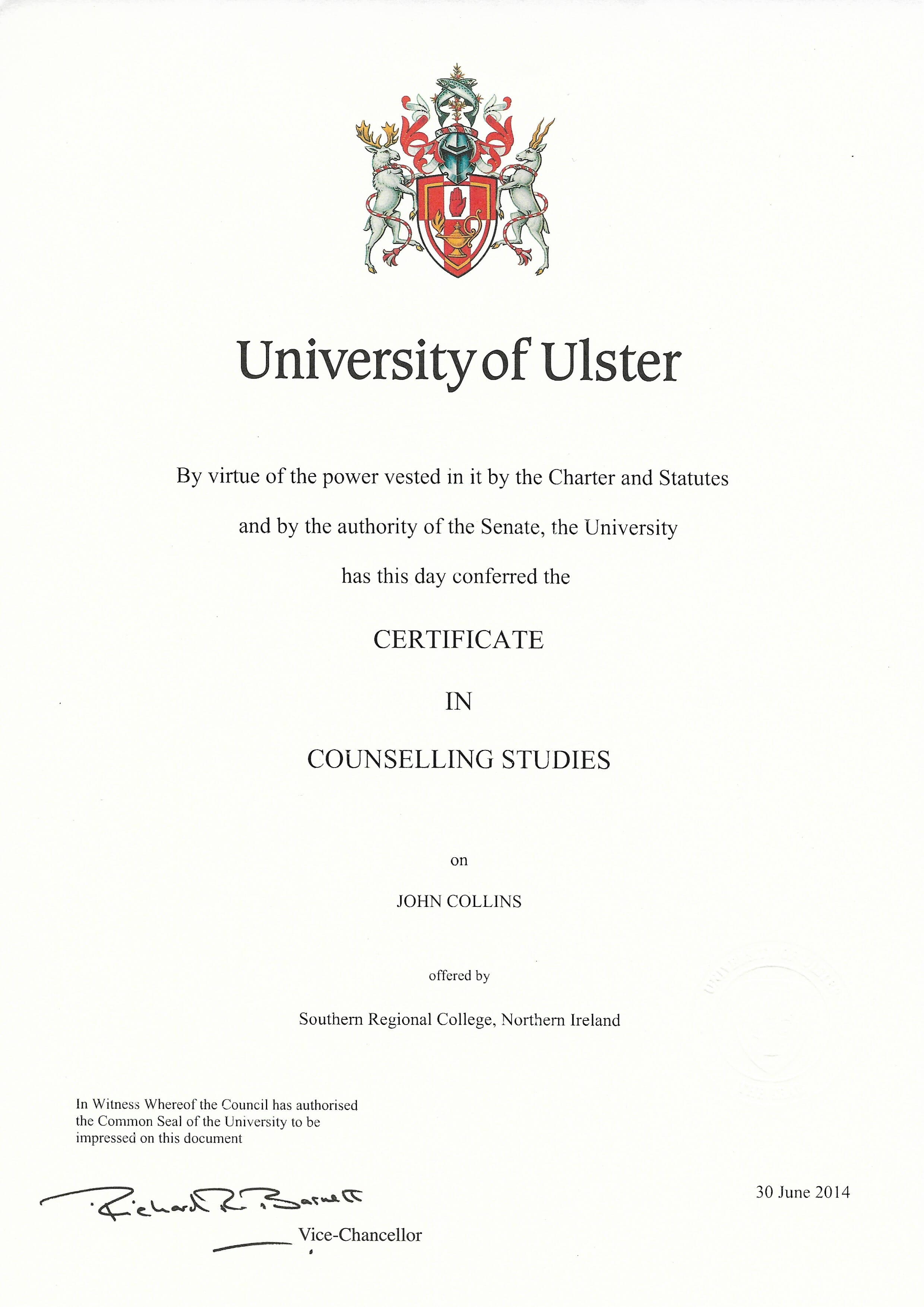 Certificate in Counselling Studies