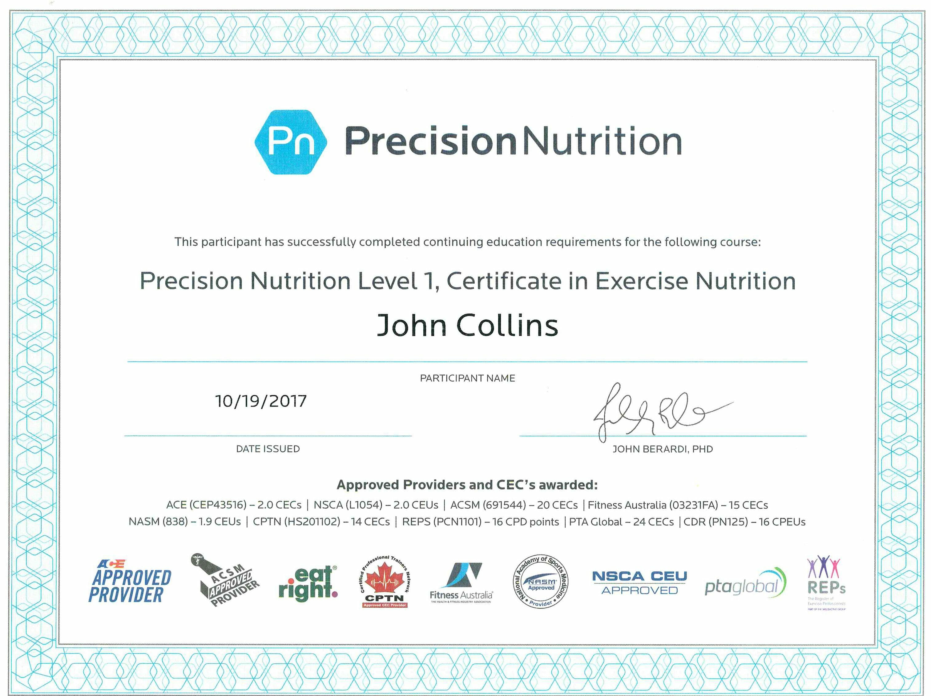 Certificate in Exercise Nutrition